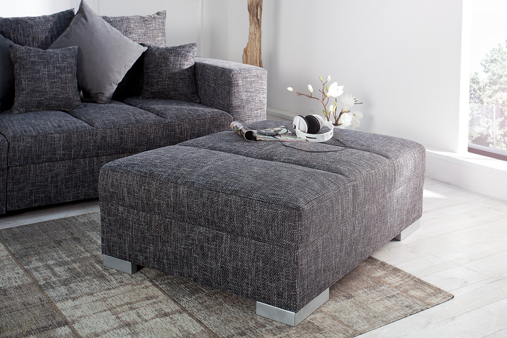 hocker zum sofa big sofa island strukturstoff grau charcoal fu hocker sitzhocker ebay. Black Bedroom Furniture Sets. Home Design Ideas