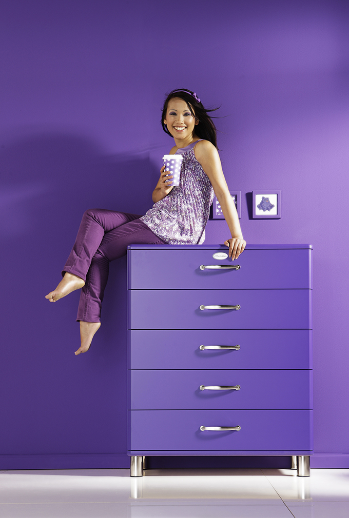 tenzo kommode malibu 5295 mit 5 schubladen in violet 2 wahl ebay. Black Bedroom Furniture Sets. Home Design Ideas
