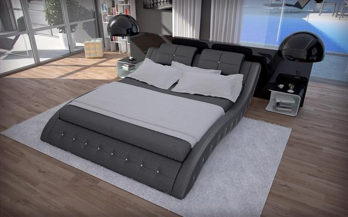 luxus bett polsterbett mood schwarz 180 x 200 cm ebay. Black Bedroom Furniture Sets. Home Design Ideas