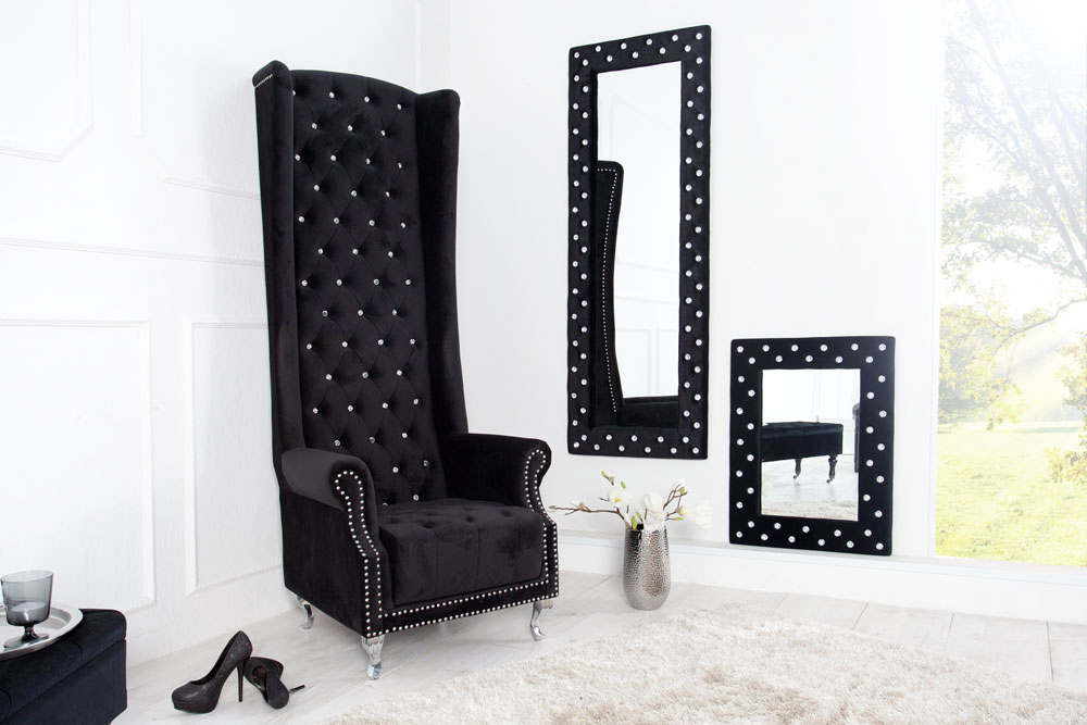 thronstuhl sessel royal chair deluxe mit strass kn pfen schwarz samt stuhl. Black Bedroom Furniture Sets. Home Design Ideas