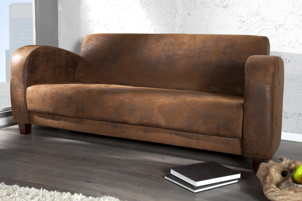 3 sitzer havanna lounge braun lounge sofa antik look coffee couch ebay. Black Bedroom Furniture Sets. Home Design Ideas
