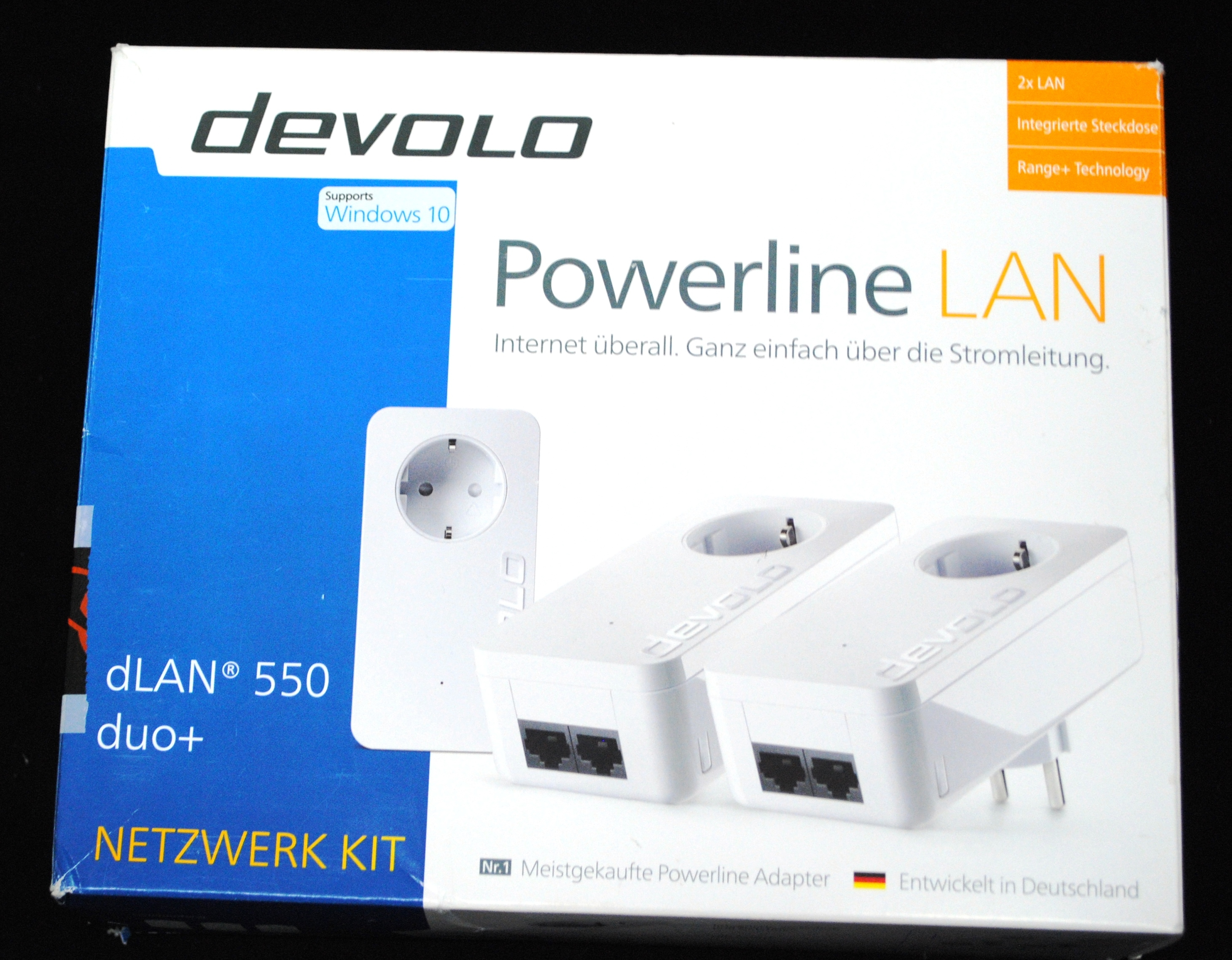 devolo 9304 dlan 550 duo network kit powerline dlan b ware ebay. Black Bedroom Furniture Sets. Home Design Ideas