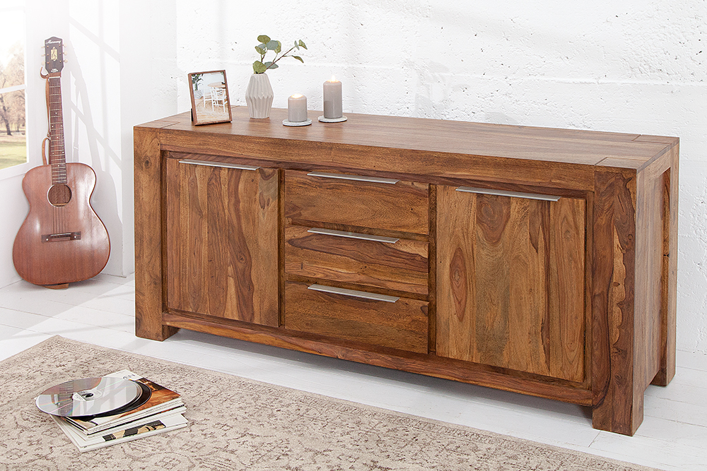 monumentales sideboard makassar aus sheesham 175cm kommode massiv holz schrank ebay. Black Bedroom Furniture Sets. Home Design Ideas