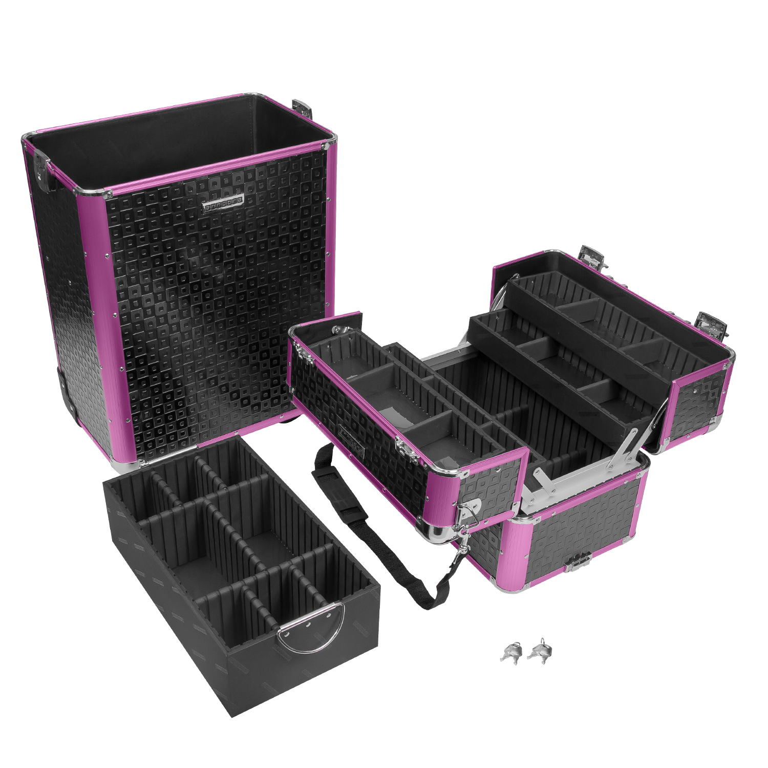 pilotenkoffer trolley beauty case alu karo struktur 60 l schwarz violett ebay. Black Bedroom Furniture Sets. Home Design Ideas