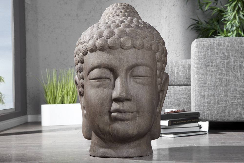 riesiger design buddha kopf xxl antik braun 70cm asia deko. Black Bedroom Furniture Sets. Home Design Ideas