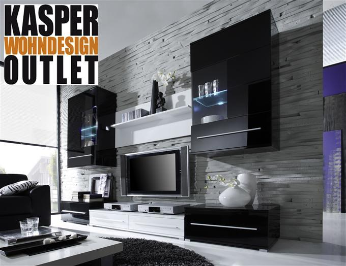 moderne wohnwand crosby in hochglanz schwarz wei ebay. Black Bedroom Furniture Sets. Home Design Ideas