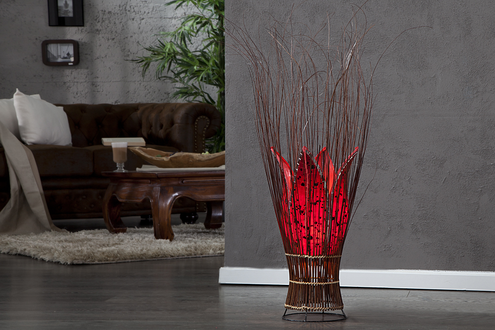 dekorative stehleuchte timon 50cm aus indonesien glas rot tischlampe lampe ebay. Black Bedroom Furniture Sets. Home Design Ideas