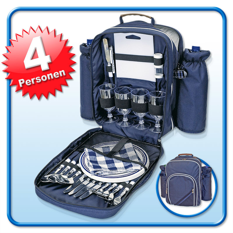 picknick rucksack inkl geschirr f 4 pers picknicktasche strandtasche neu ebay. Black Bedroom Furniture Sets. Home Design Ideas