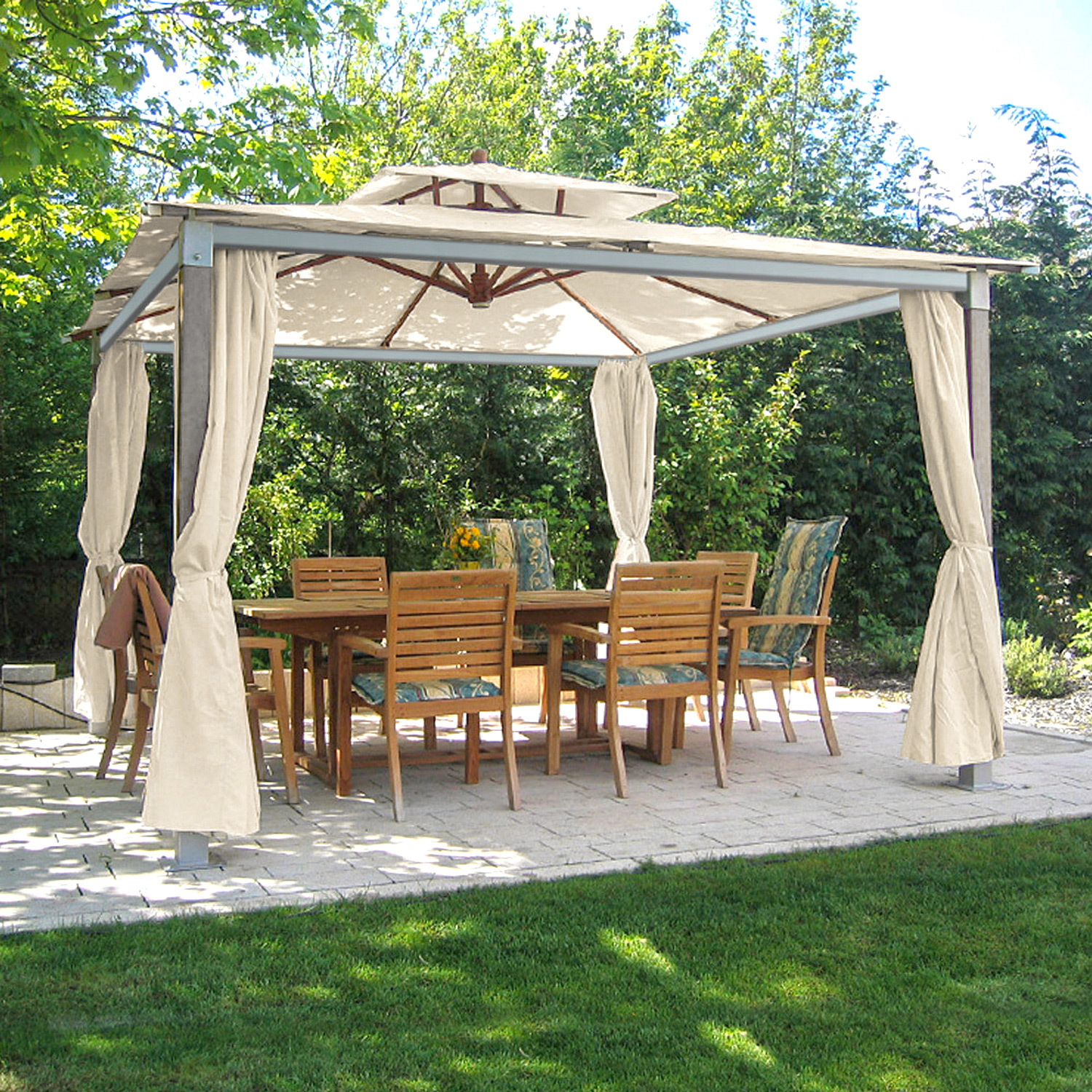 gartenpavillon anndora pavillon 3 6 x 3 6 m partyzelt holz aluminium natural ebay. Black Bedroom Furniture Sets. Home Design Ideas