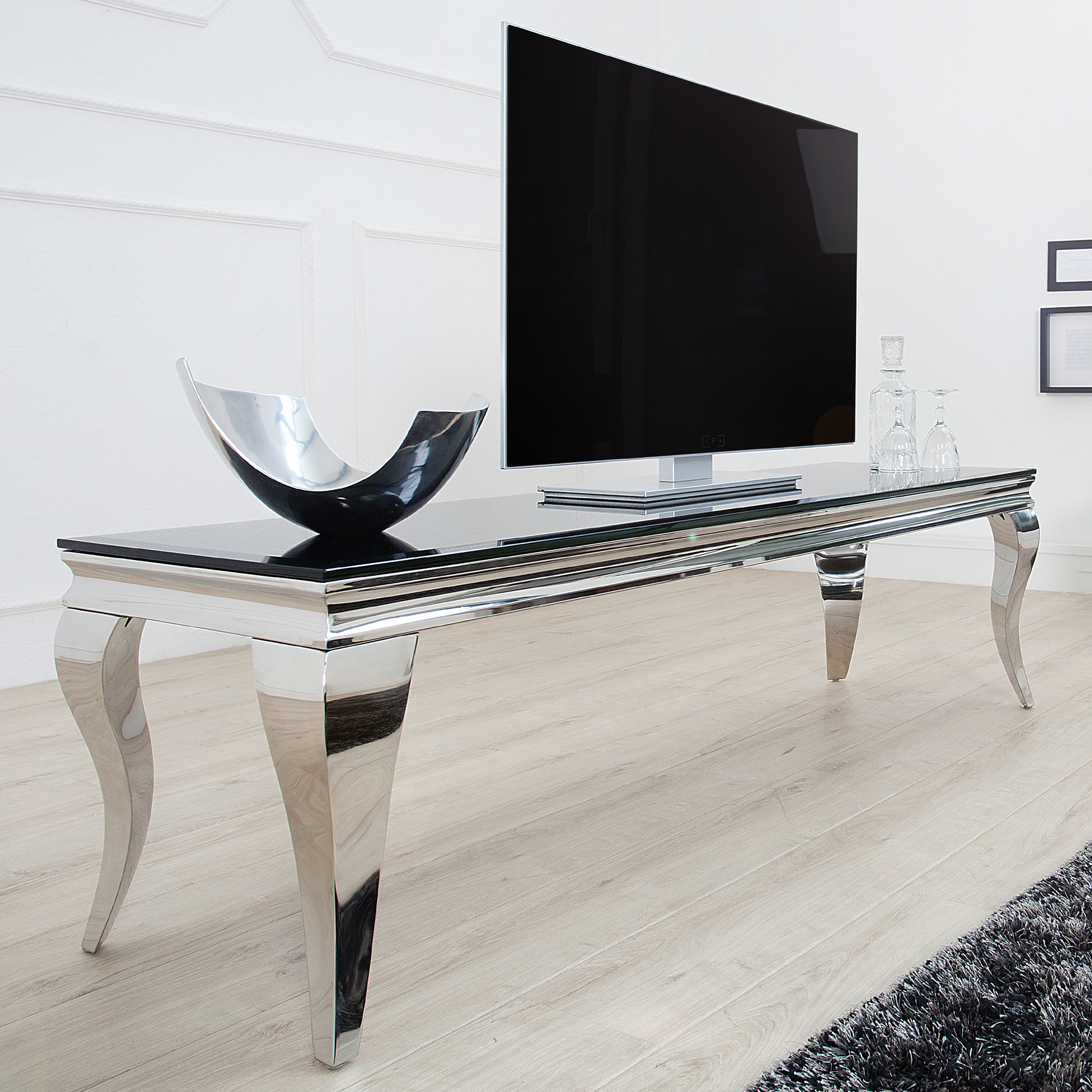 tv tisch modern barock 160cm edelstahl schwarzes opalglass. Black Bedroom Furniture Sets. Home Design Ideas