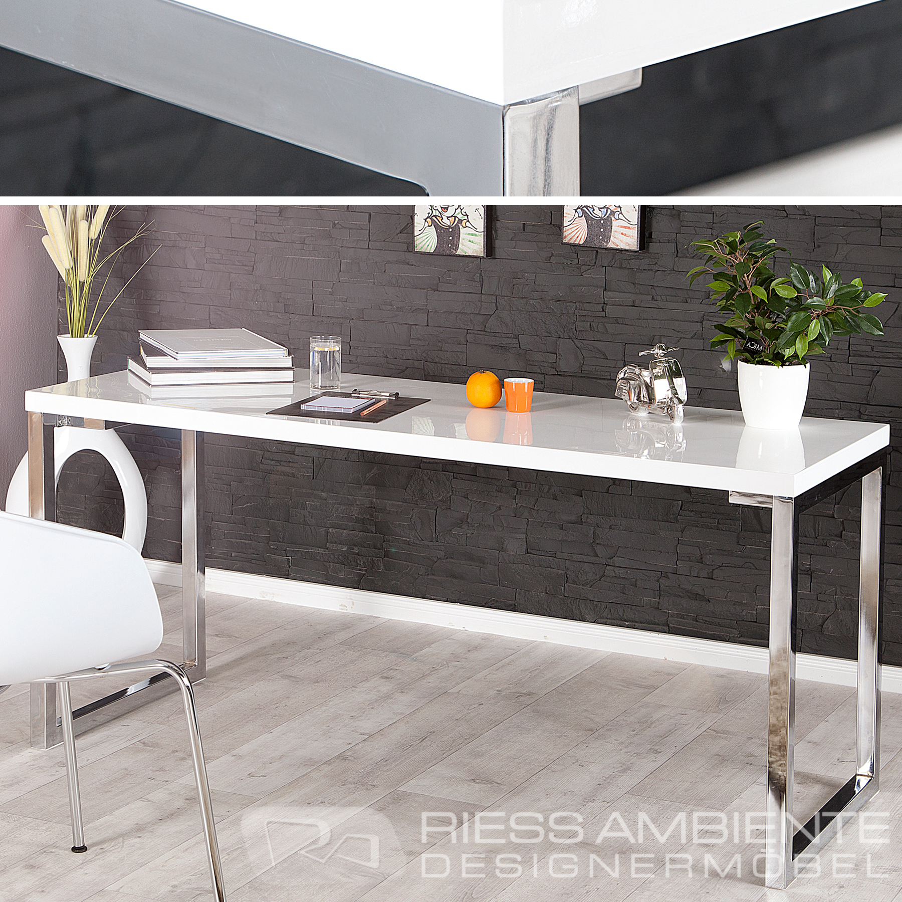 design schreibtisch white desk 140cm hochglanz weiss ebay. Black Bedroom Furniture Sets. Home Design Ideas