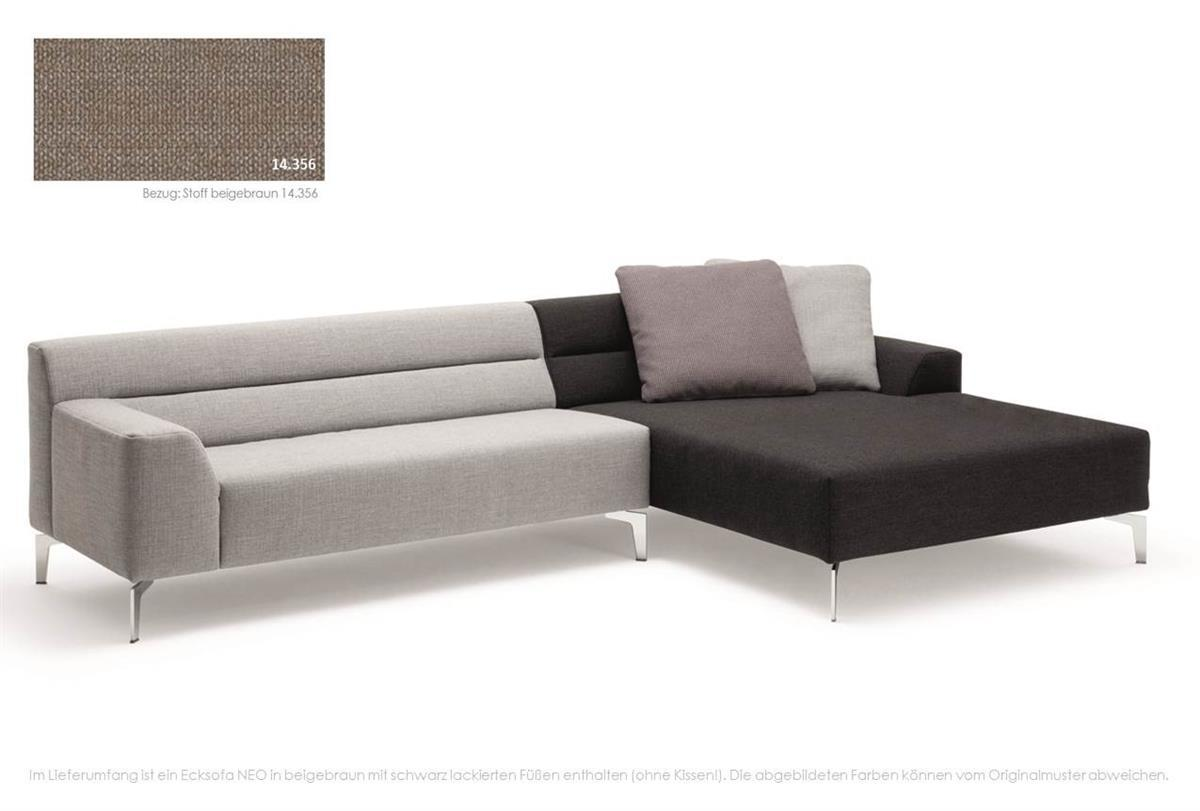 rolf benz sofa neo ecksofa recamiere rechts stoff beigebraun ebay. Black Bedroom Furniture Sets. Home Design Ideas