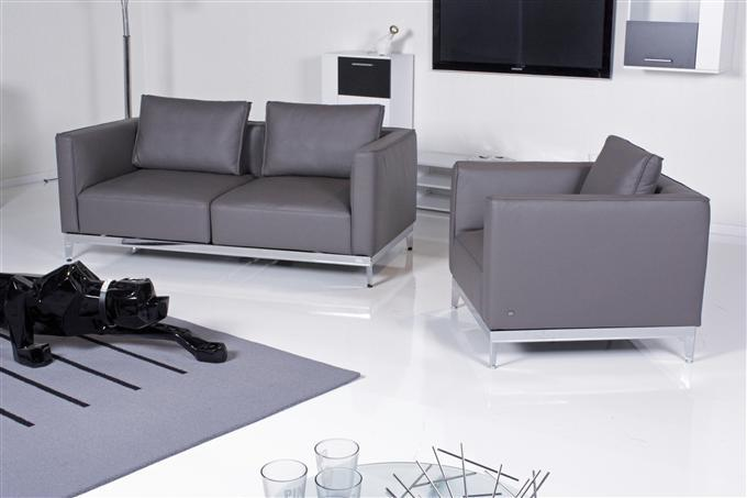 rolf benz sofa und sessel volta 385 leder dunkel graubraun. Black Bedroom Furniture Sets. Home Design Ideas