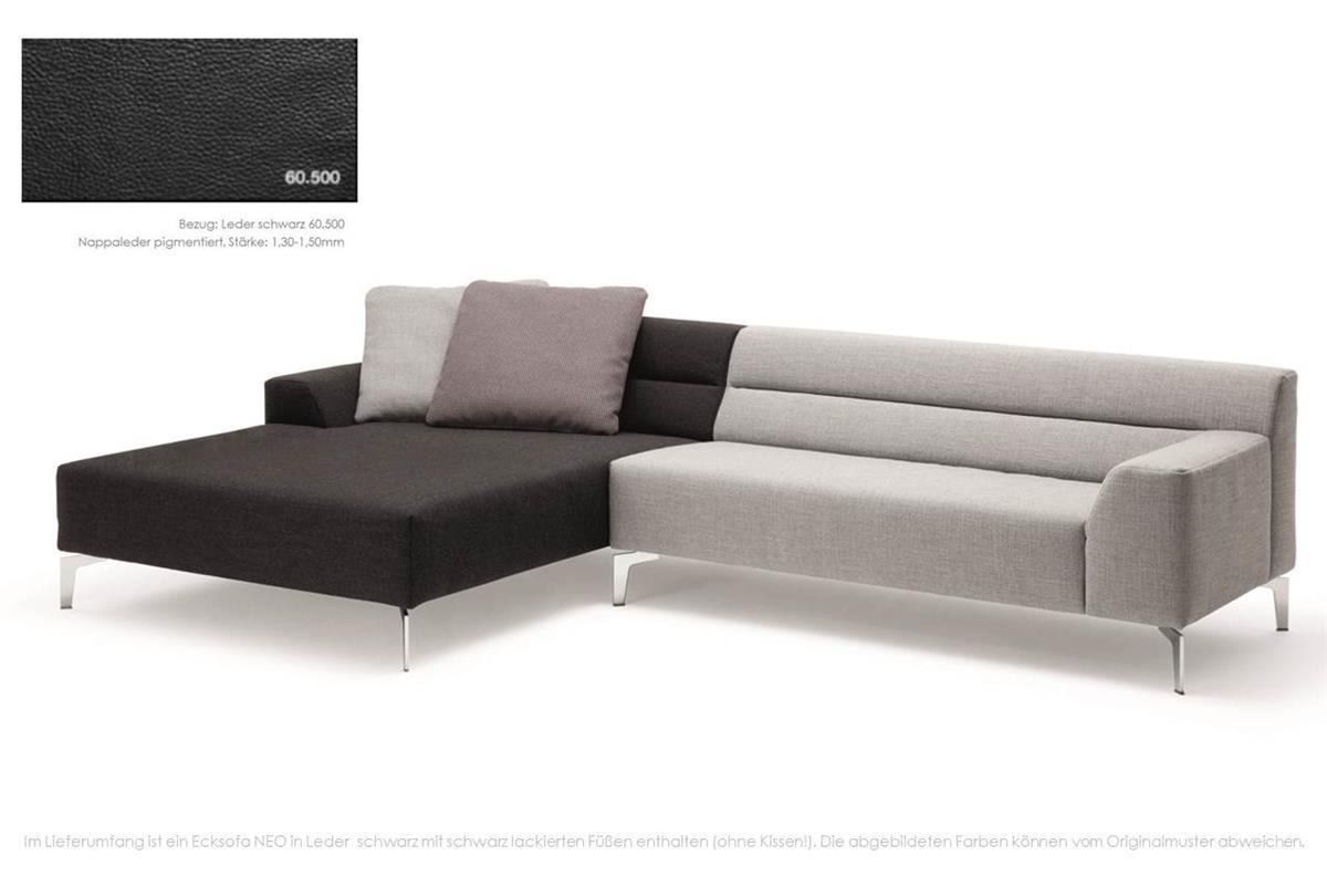 rolf benz sofa neo ecksofa leder schwarz fu schwarz ebay. Black Bedroom Furniture Sets. Home Design Ideas