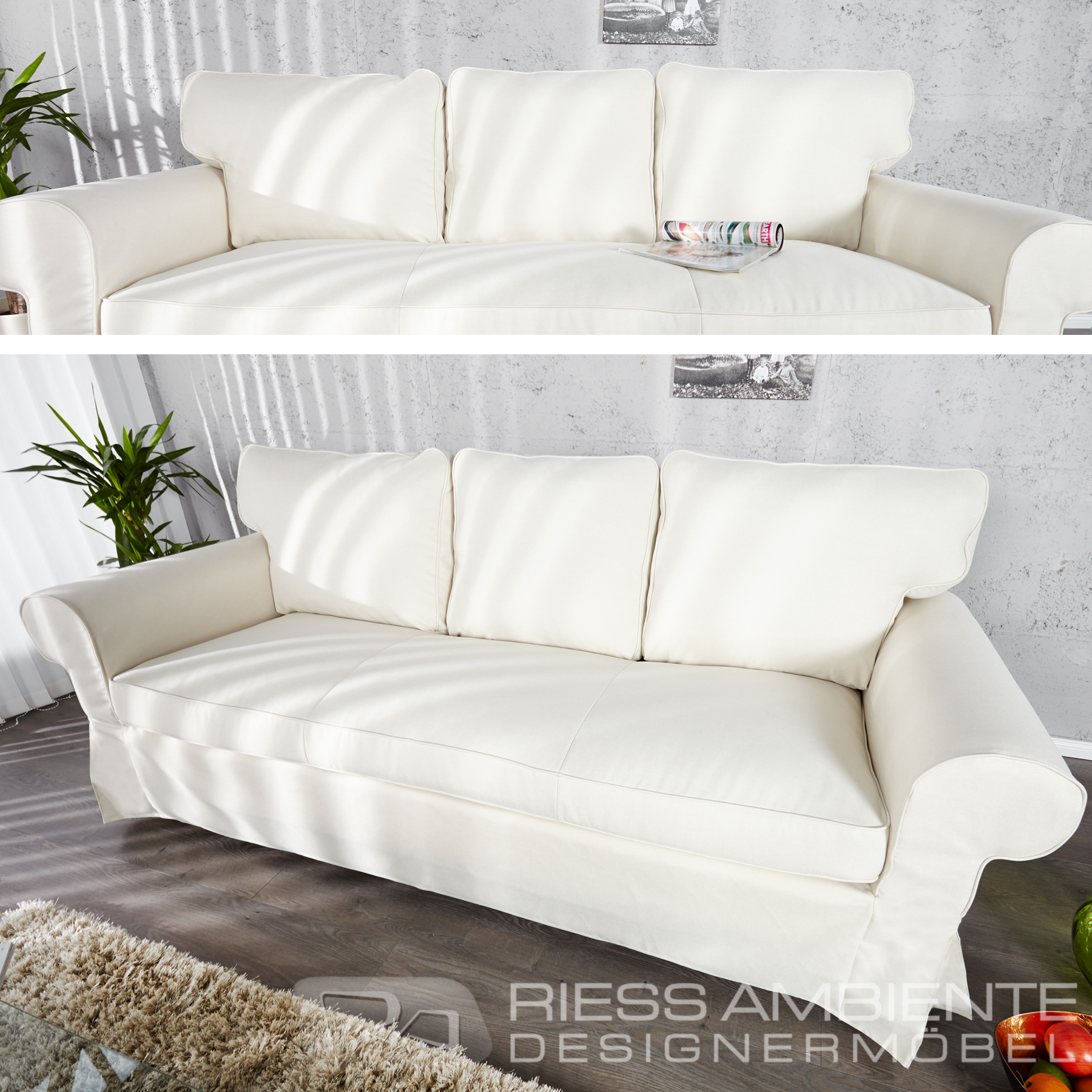 edles 3er hussensofa sylt beige couch design sofa wohnzimmer polstersofa sofas ebay. Black Bedroom Furniture Sets. Home Design Ideas
