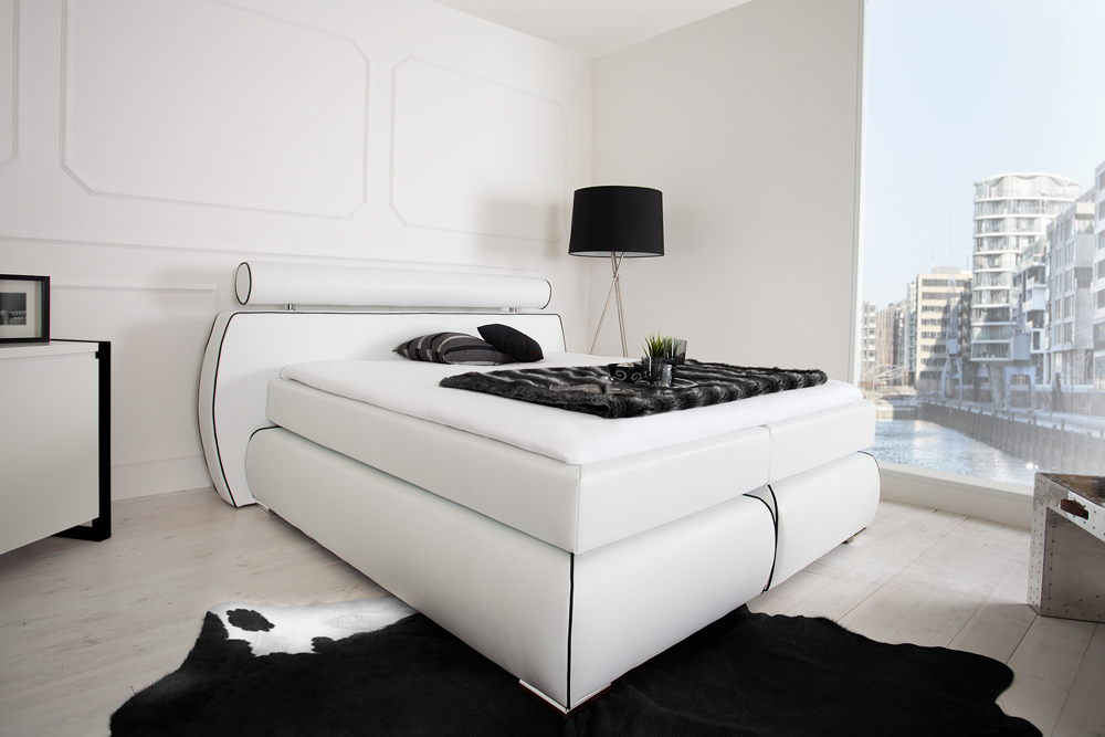 boxspringbett space 180x200 cm wei hotelbett federkern bett polsterbett ebay. Black Bedroom Furniture Sets. Home Design Ideas