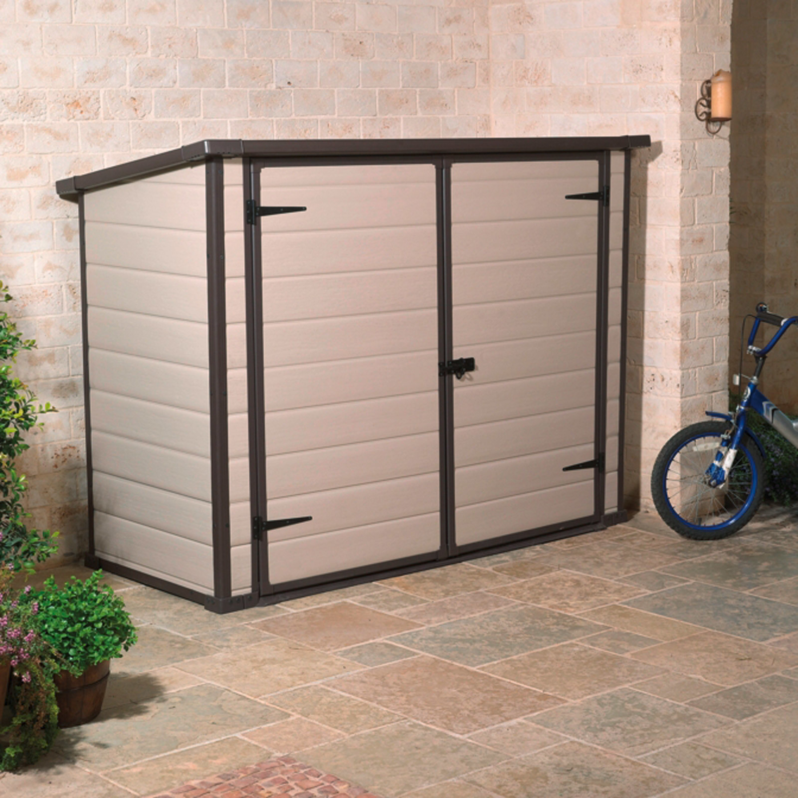 garten universalbox f r fahrr der m lltonnen m lltonnenbox fahrradgarage braun ebay. Black Bedroom Furniture Sets. Home Design Ideas