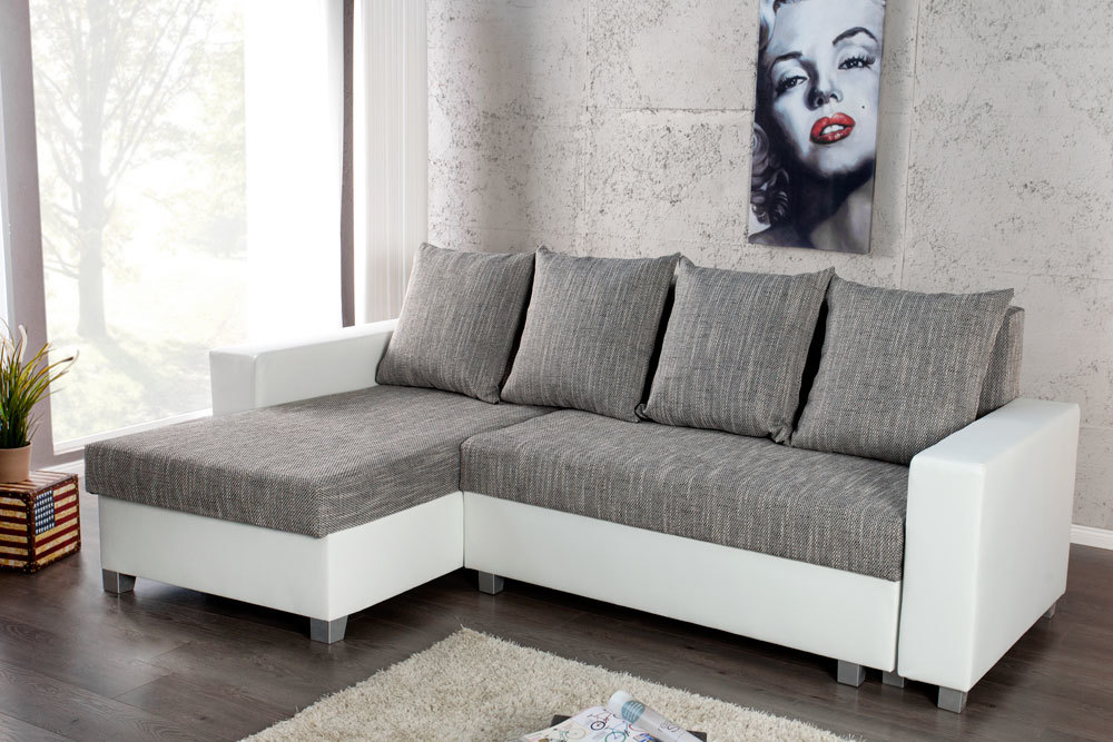 design ecksofa compact wei strukturstoff grau mit schlaffunktion schlafsofa ebay. Black Bedroom Furniture Sets. Home Design Ideas
