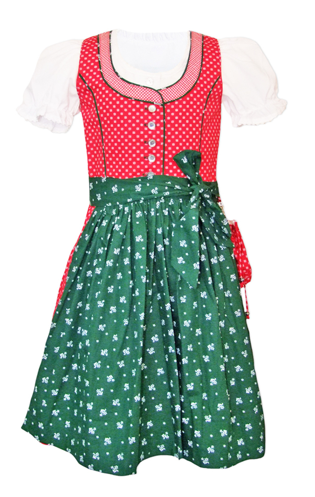 kinder dirndl nele 3 tlg rot gr n waschdirndl von lekra. Black Bedroom Furniture Sets. Home Design Ideas