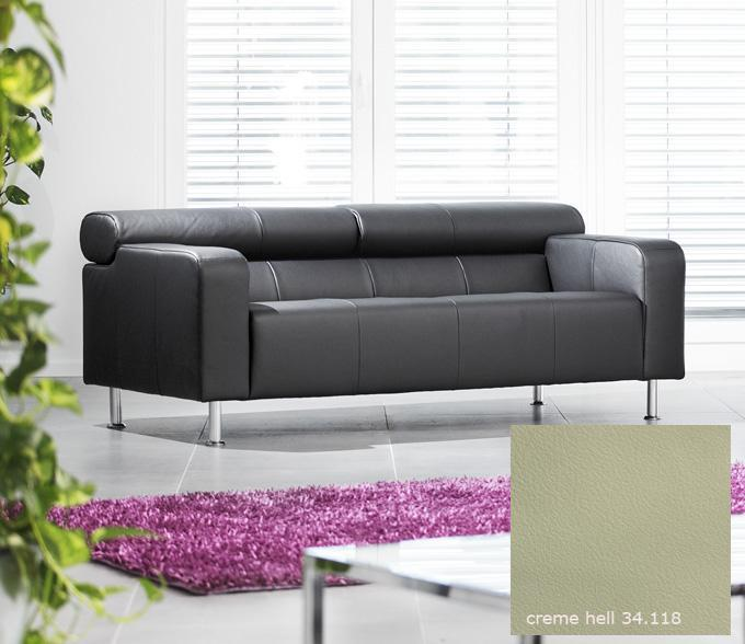 ak 422 2er sofa aus dem hause rolf benz glattleder creme hell ebay. Black Bedroom Furniture Sets. Home Design Ideas
