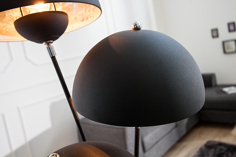 stehlampe studio iii 170cm schwarz silber lampe blattsilber optik stehleuchte ebay. Black Bedroom Furniture Sets. Home Design Ideas