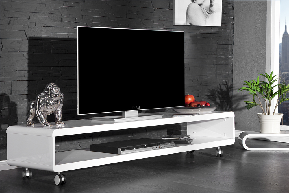 design tv board lowboard cast weiss hochglanz fernsehtisch. Black Bedroom Furniture Sets. Home Design Ideas