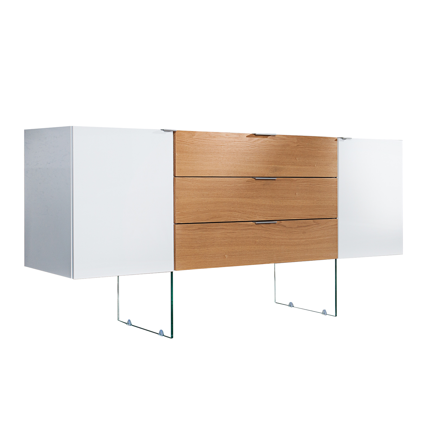 design sideboard onyx weiss hochglanz glas eiche 160cm kommode. Black Bedroom Furniture Sets. Home Design Ideas