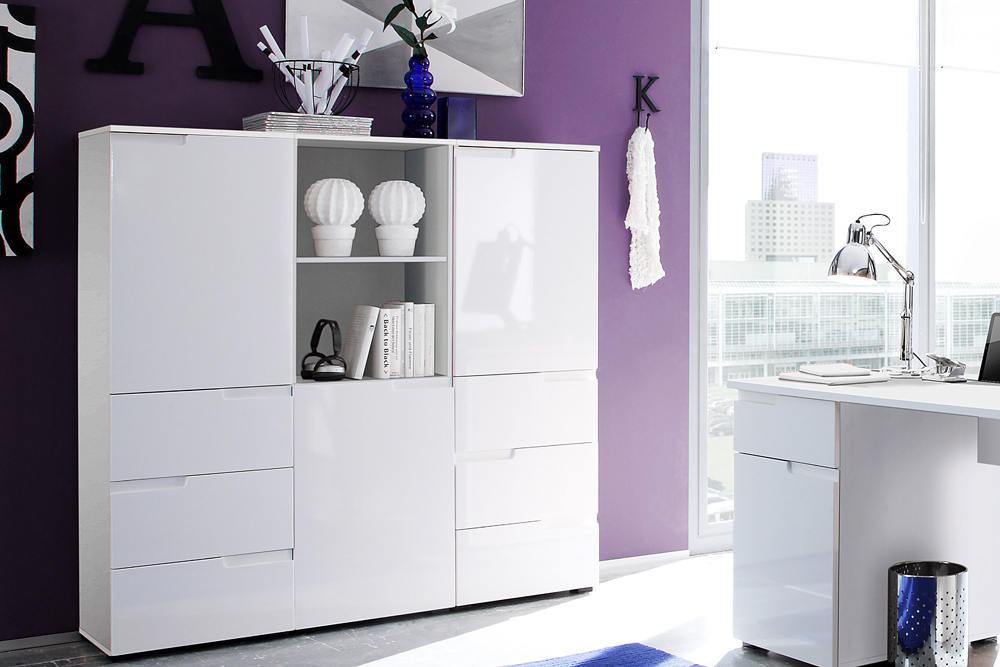 design schrank spice 145cm hochglanzfront mit t r wei schr nke aufbewahrung ebay. Black Bedroom Furniture Sets. Home Design Ideas
