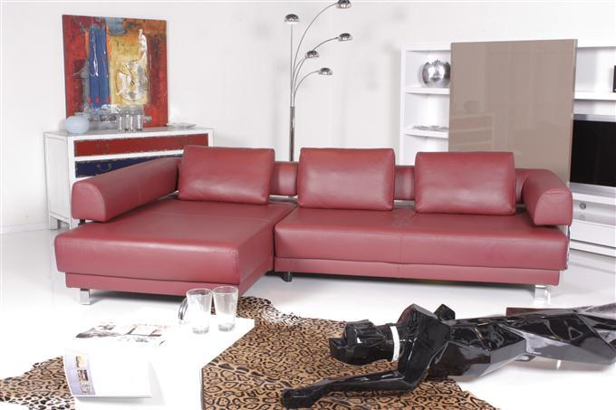ewald schillig face ecksofa leder rot ebay. Black Bedroom Furniture Sets. Home Design Ideas