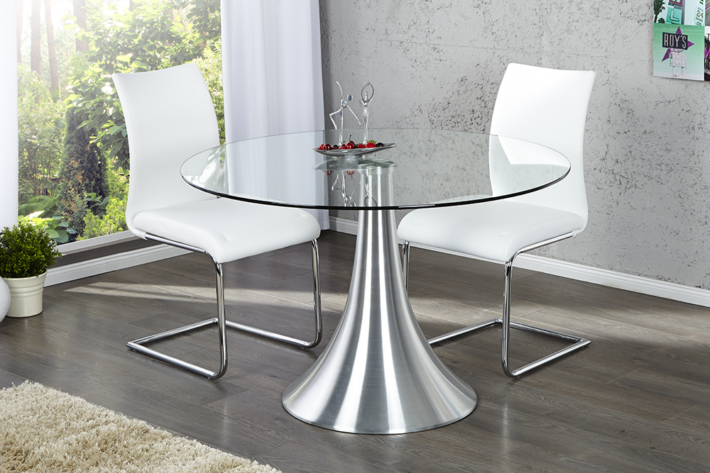 aluminium glas esstisch circular 110 cm glastisch tisch esszimmertisch ebay. Black Bedroom Furniture Sets. Home Design Ideas