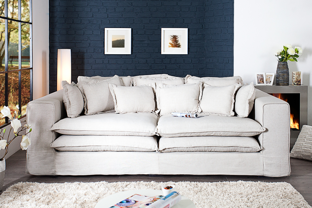 Big sofa xxxl hussensofa cloud creme leinen stoff hussen for Xxxl wohnlandschaft