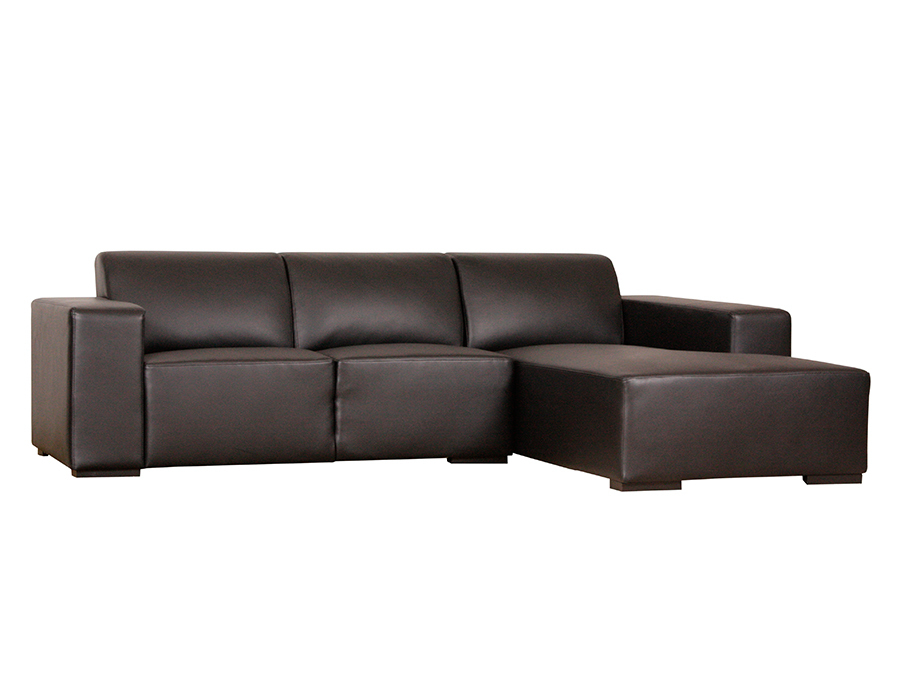 ecksofa klassisch in kunstleder schwarz recamiere rechts. Black Bedroom Furniture Sets. Home Design Ideas