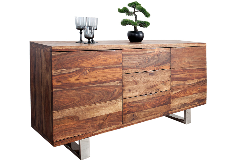 massives sideboard sheesham fire earth 160cm dunkel mit kufenf en kommode ebay. Black Bedroom Furniture Sets. Home Design Ideas