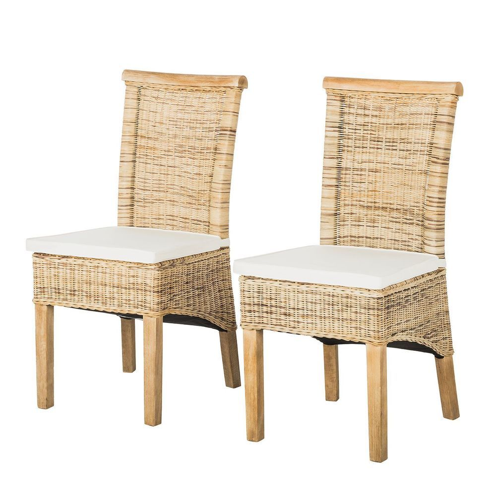 2x esszimmerst hle bali akazie rattan st hle k chenst hle rattenstuhl stuhl set ebay. Black Bedroom Furniture Sets. Home Design Ideas