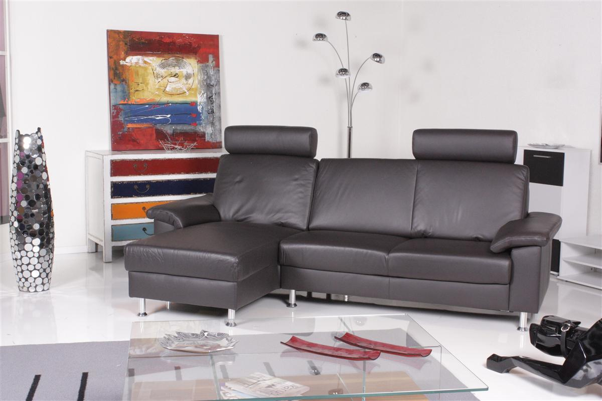 ewald schillig sofa seduktion plus ecksofa leder grau braun ebay. Black Bedroom Furniture Sets. Home Design Ideas