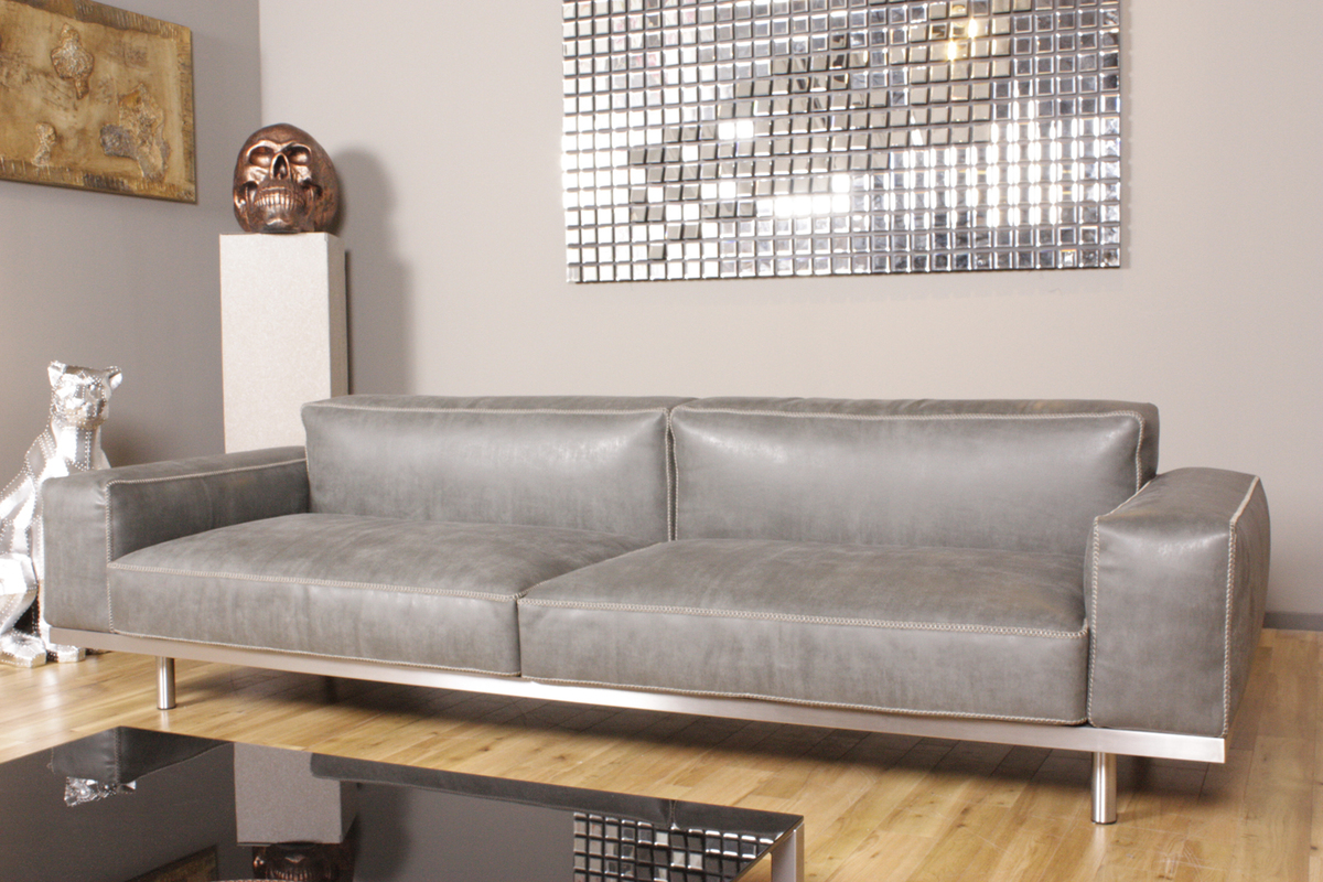 kawola sofa opra ledersofa 4 sitzer leder toledo farbe silvergrey grau ebay. Black Bedroom Furniture Sets. Home Design Ideas
