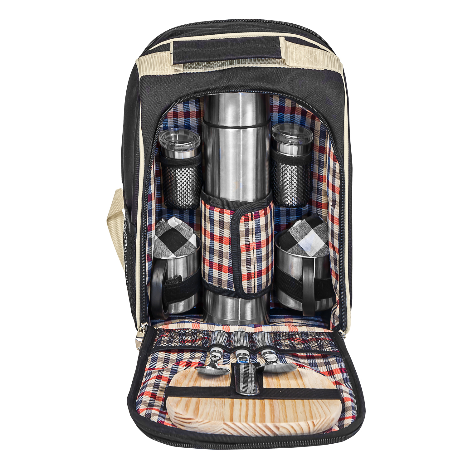 picknick rucksack picknicktasche geschirr besteck thermoskanne k hlfach ebay. Black Bedroom Furniture Sets. Home Design Ideas