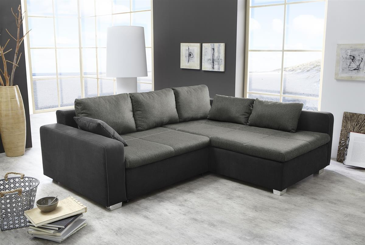 ecksofa vito mit bettfunktion stoff schwarz ebay. Black Bedroom Furniture Sets. Home Design Ideas