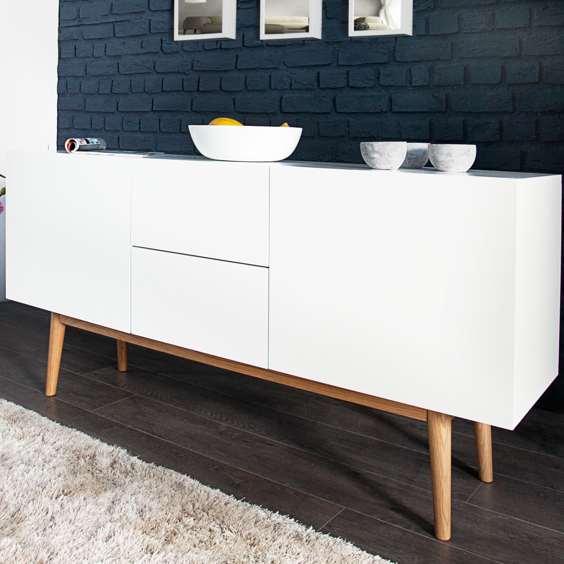 design sideboard lisboa wei 150cm mit eiche f en kommode board aufbewahrung ebay. Black Bedroom Furniture Sets. Home Design Ideas