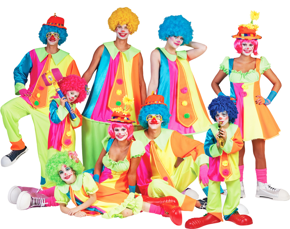 clown roxie kost m f r m dchen lustiges zirkus karneval kleid in neonfarben ebay. Black Bedroom Furniture Sets. Home Design Ideas