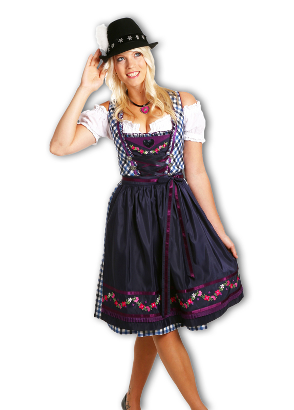 midi dirndl franziska 3 tlg modernes damen trachten kleid mit sch rze und bluse ebay. Black Bedroom Furniture Sets. Home Design Ideas