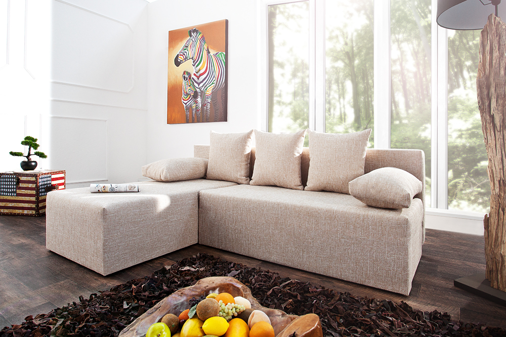 design ecksofa cubus strukturstoff beige mit schlaffunktion und bettkasten ebay. Black Bedroom Furniture Sets. Home Design Ideas
