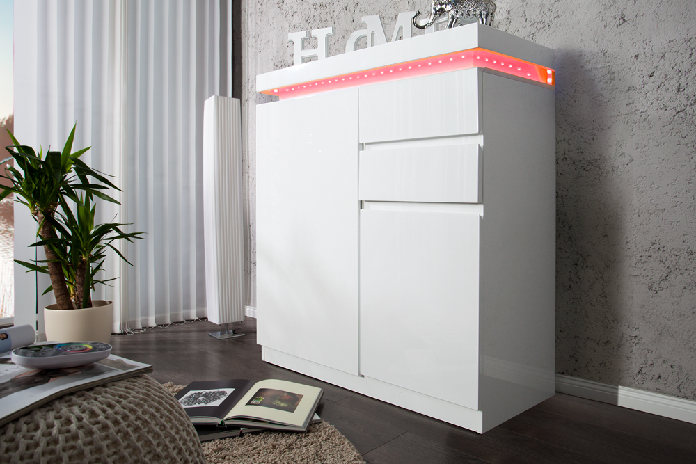 design schuhschrank venue hochglanz weiss 120cm inkl led farbwechsel funktion ebay. Black Bedroom Furniture Sets. Home Design Ideas