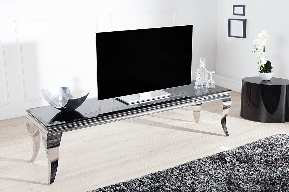 tv tisch modern barock 160cm edelstahl schwarzes opalglass lowboard tisch ebay. Black Bedroom Furniture Sets. Home Design Ideas