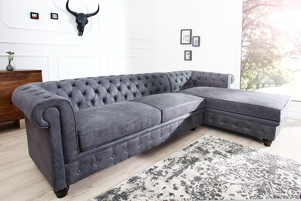 chesterfield sofa antik grau polstersofa sofagarnitur. Black Bedroom Furniture Sets. Home Design Ideas