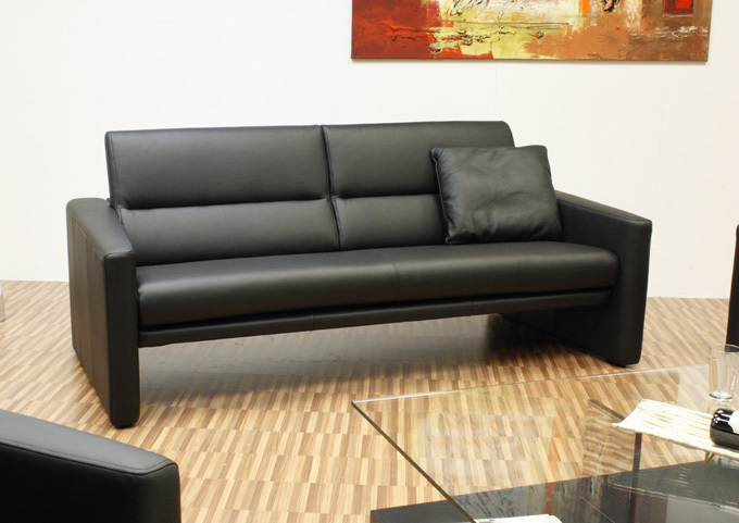 rolf benz sofa ledersofa modell ak 412 2 sitzer dickleder leder schwarz ebay. Black Bedroom Furniture Sets. Home Design Ideas