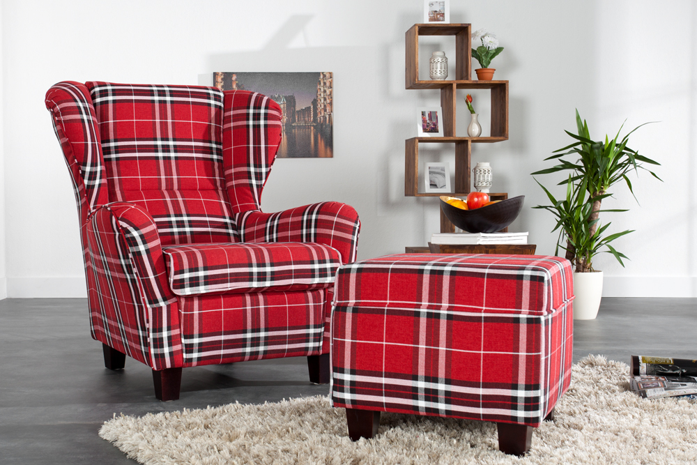 ohrensessel jackson inkl hocker in rot kariert sessel mit hocker polstersessel ebay. Black Bedroom Furniture Sets. Home Design Ideas