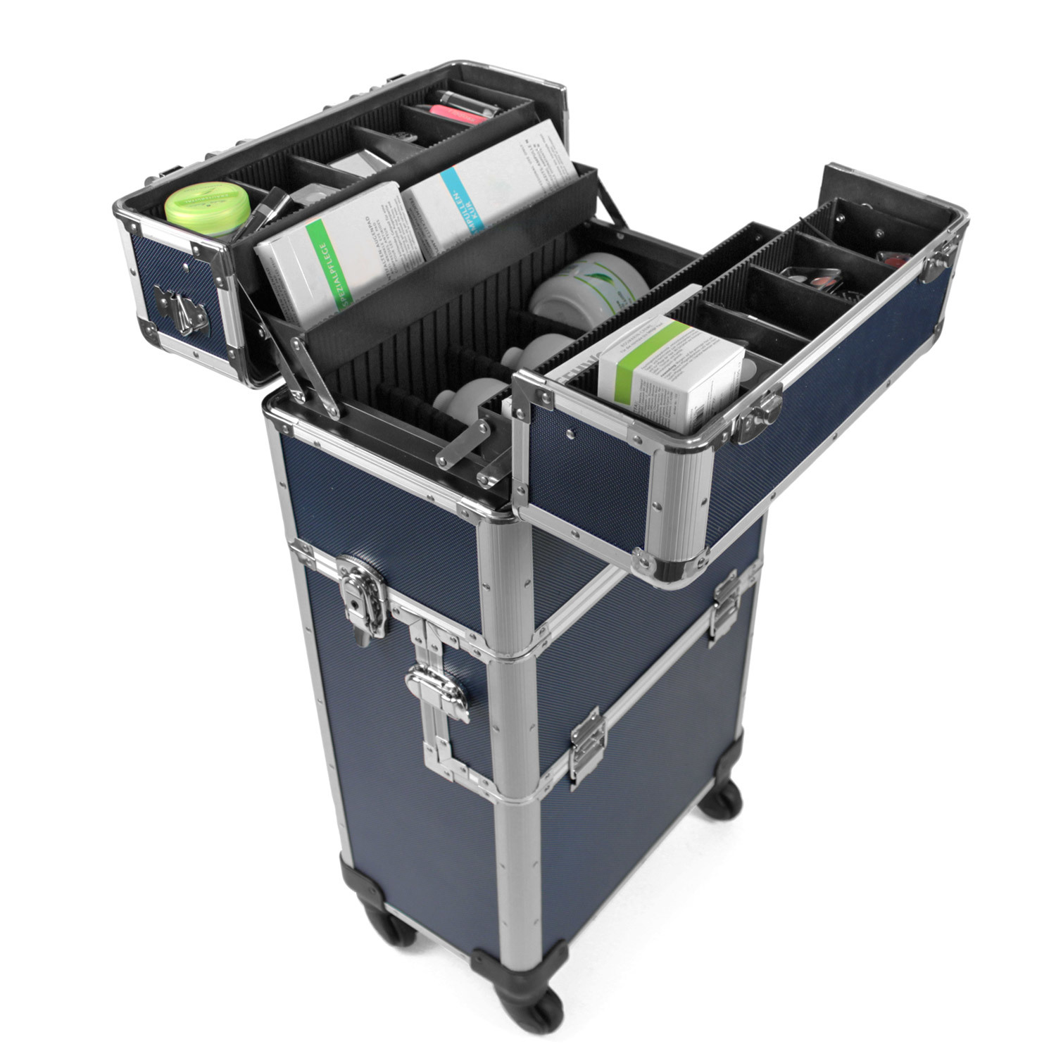 champ aluminium trolley pilotenkoffer friseurkoffer blau pr sentationstrolley ebay. Black Bedroom Furniture Sets. Home Design Ideas