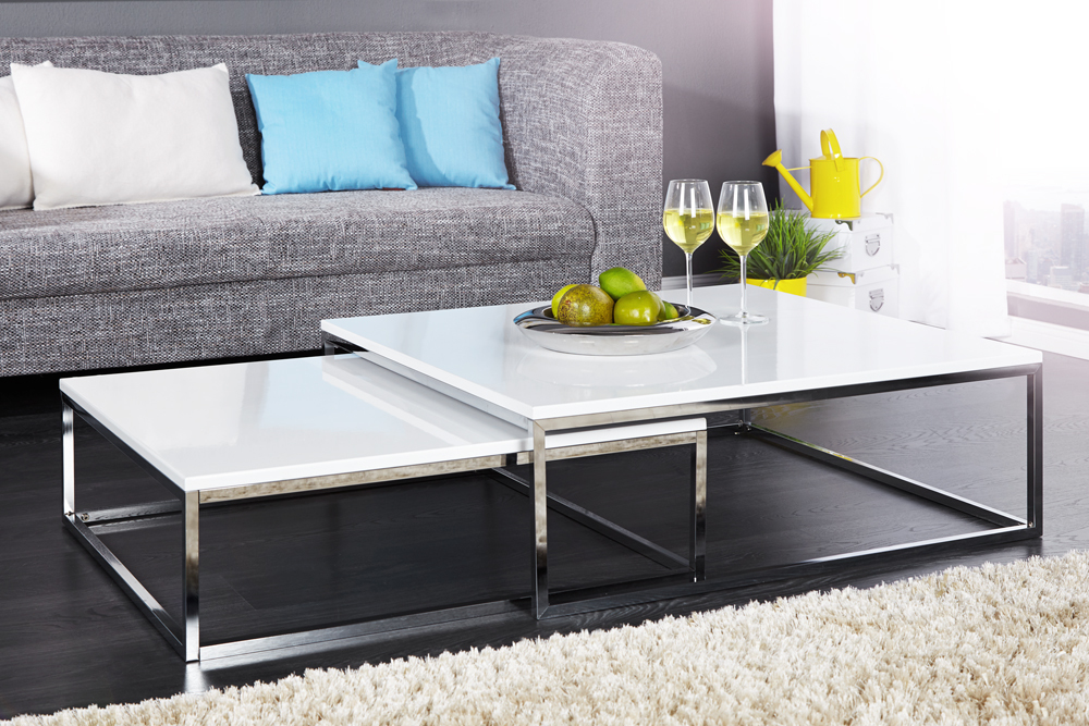 design couchtisch 2er set big fusion hochglanz weiss chrom beistelltisch tische ebay. Black Bedroom Furniture Sets. Home Design Ideas