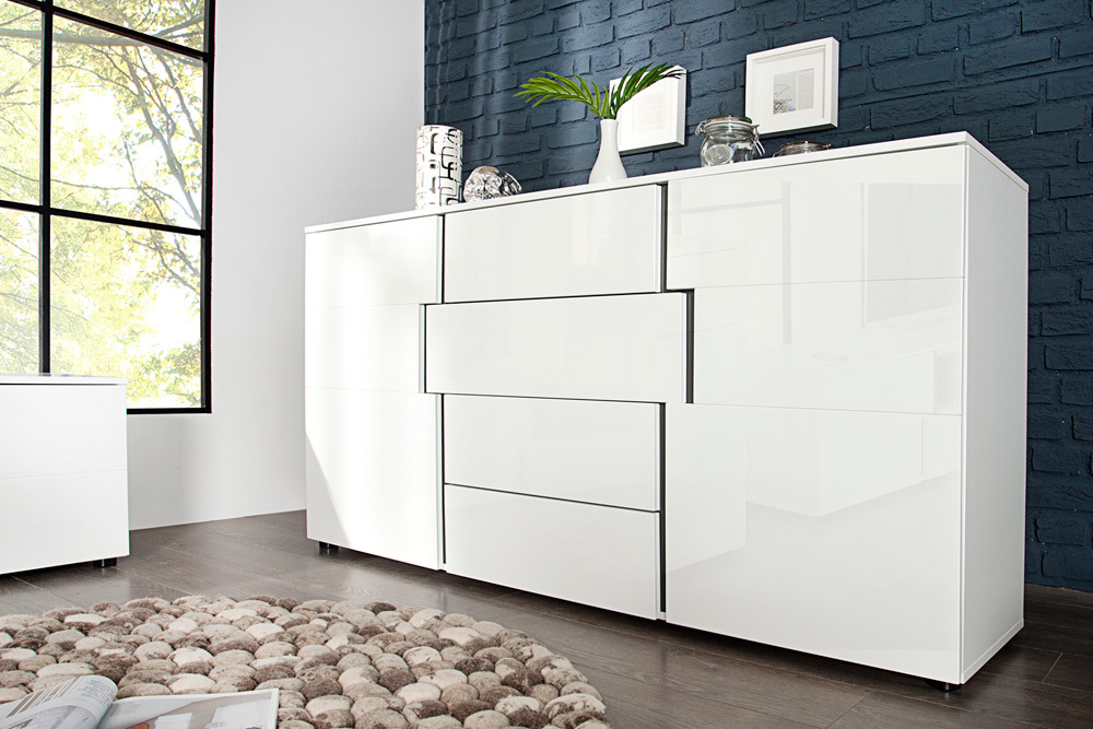 design sideboard arctic 165cm wei hochglanz kommode schubladen schrank ebay. Black Bedroom Furniture Sets. Home Design Ideas
